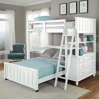 Lake House White Full Loft Bunk Bed with Full Lower Bed