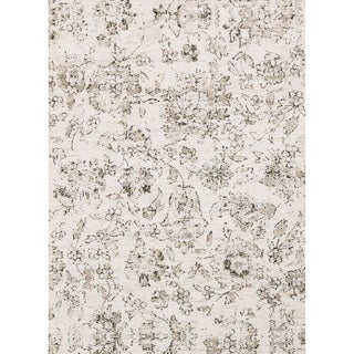 Microfiber Transitional Neutral Distressed Floral Rug