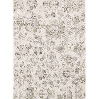 Microfiber Transitional Neutral Distressed Floral Rug - 6'7 x 9'2