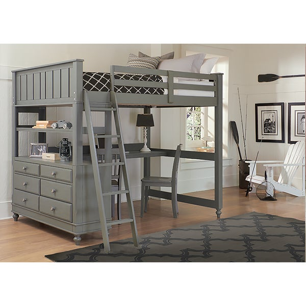 Lake House Stone Full Loft Bed with Desk. Opens flyout.