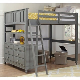 Lake House Stone Full Loft Bunk Bed with Desk