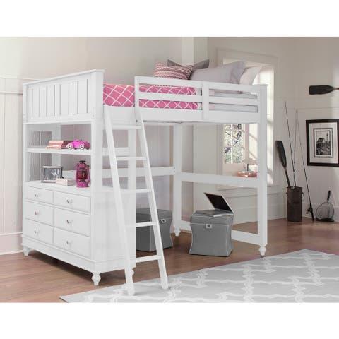 Lake House White Full Loft Bunk Bed