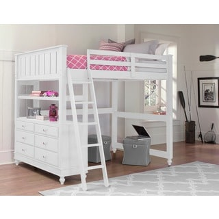 Lake House White Full Loft Bunk Bed with Desk