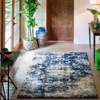 Microfiber Transitional Navy/ Ivory Medallion Rug - 6'7 x 9'2