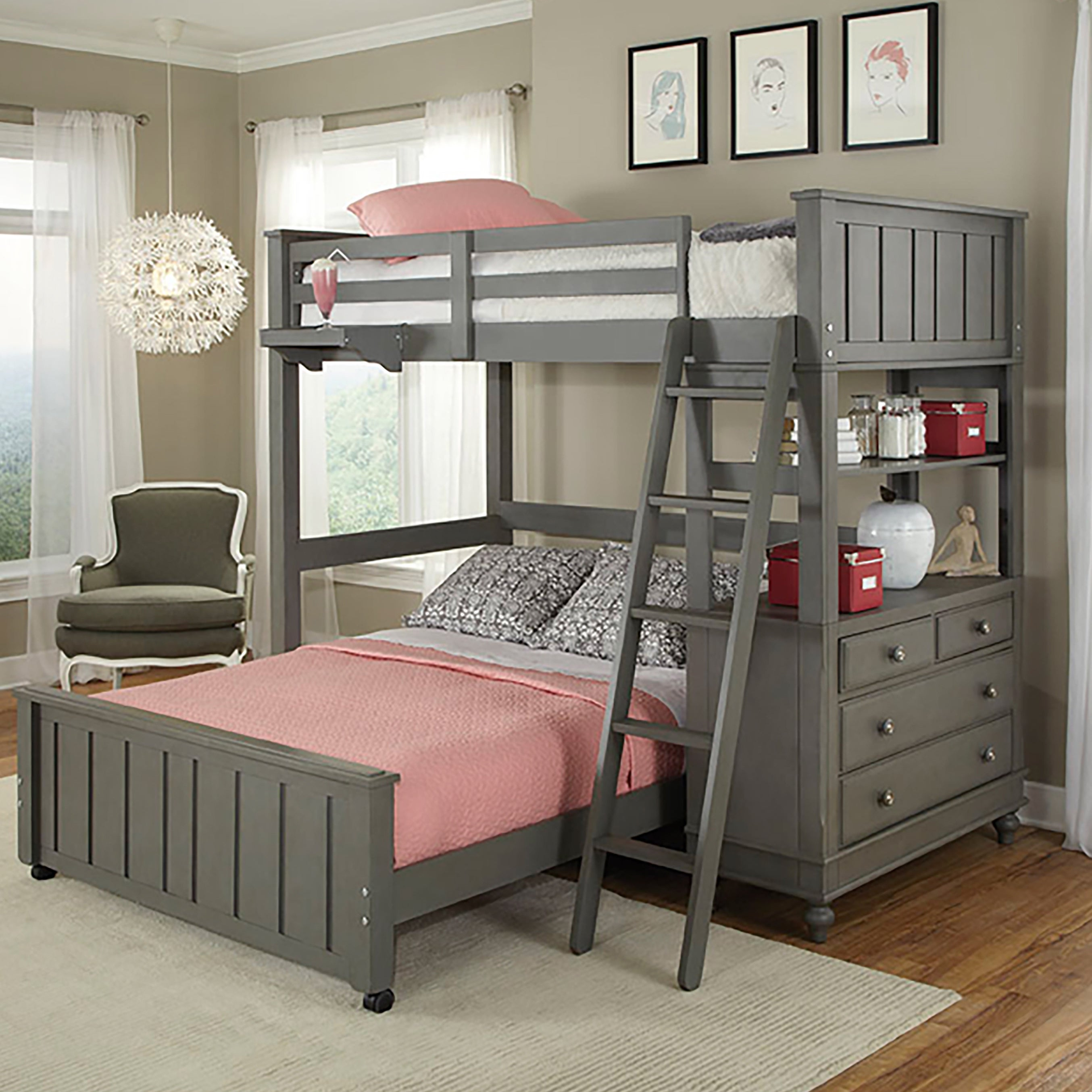 NE Kids Lake House Stone Twin Loft Bunk Bed with Full Low...