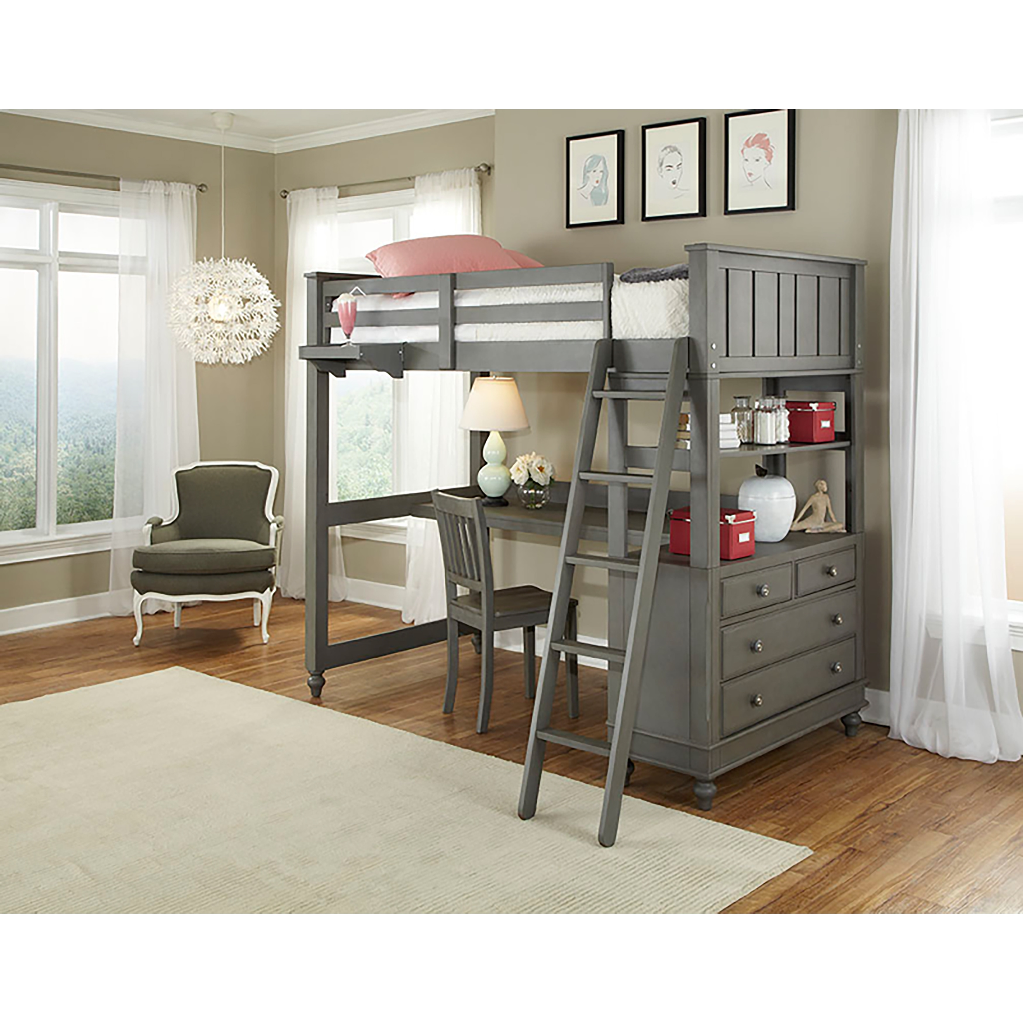 Twin Loft With Desk By Hilale Kids