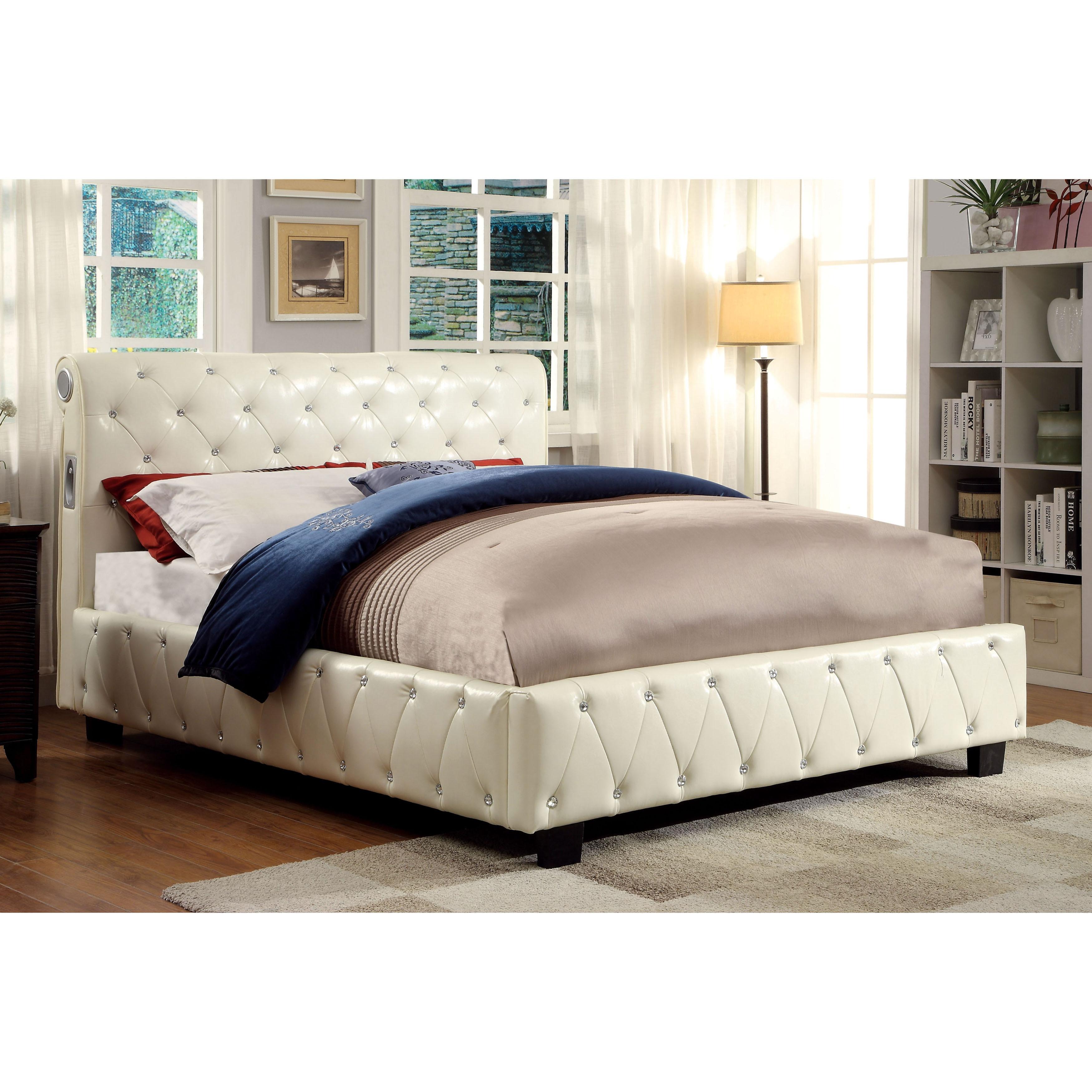 Shop Furniture of America Emmaline Ivory Leatherette Platform Bed ...