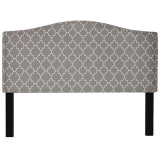 Cortesi Home Lena Grey Upholstered Queen Headboard With Nailhead Trim