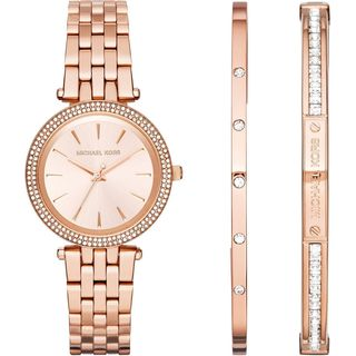 Michael Kors Women's MK3431 'Darci' Bracelet and Bangle Set Rose-Tone Stainless Steel Watch - Stainless steel