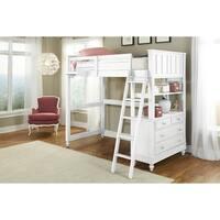 NE Kids Lake House White Wood Twin Loft with Desk