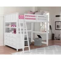 Lake House White Twin-size Loft and Dresser