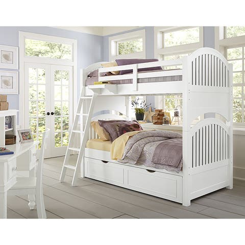 Lake House Adrain Twin over Twin Bunk with Trundle-White