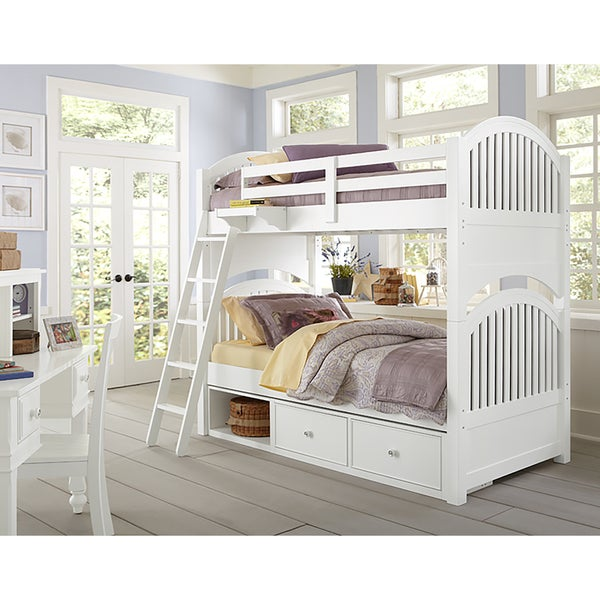 Lake House Adrain White Twin over Twin Bunk Bed with