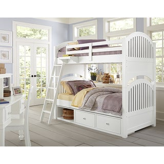 Lake House Adrain White Twin over Twin Bunk Bed with Storage