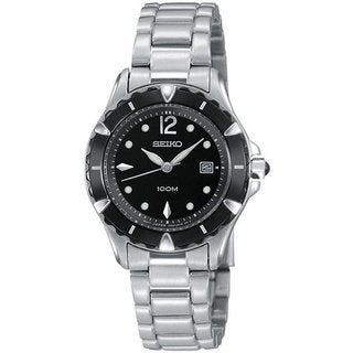 Seiko Women's SXDA93 Stainless Steel SilverTone Watch with a Date Window and Luminous Hands and Markers