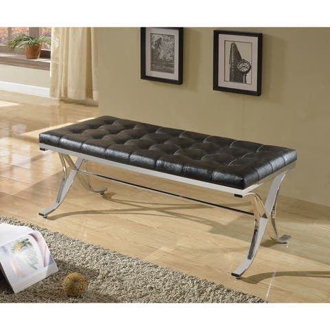 Copper Grove Sharon Button-tufted Dining Bench with Chrome Legs