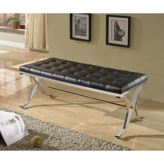Royce Button-tufted Dining Bench with Chrome Legs