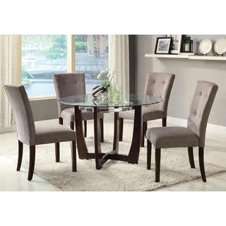 Baldwin Microfiber/Walnut Button-tufted Dining Chair (Set of 2)