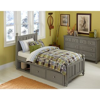 Lake House Kennedy Stone Grey Twin Bed with Storage