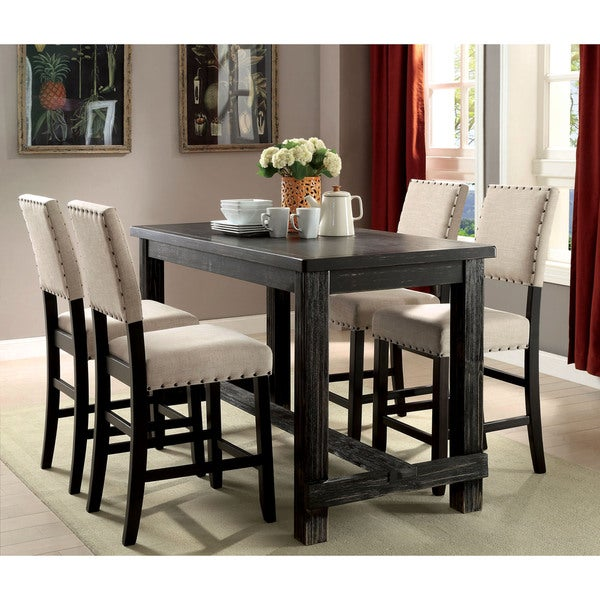 3 Pcs Modern Counter Height Dining Set Table And 2 Chairs: Furniture Of America Telara Contemporary Antique Black