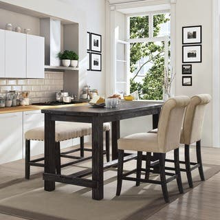 Kitchen dining room tables for less overstock furniture of america telara contemporary antique black counter height dining table workwithnaturefo
