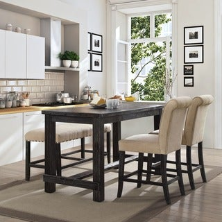 Furniture Of America Telara Contemporary Antique Black Counter Height Dining  Table