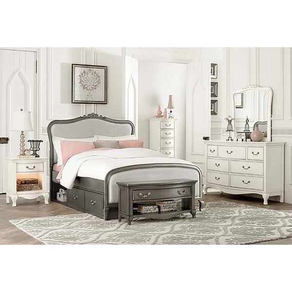 Kensington Katherine Full Size Antique Silver Upholstered Panel Bed With Storage