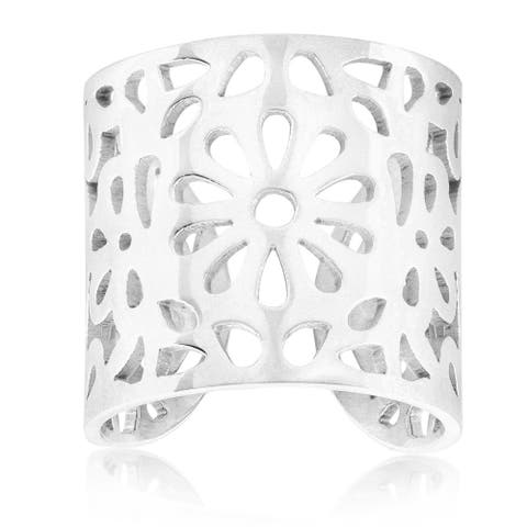 ELYA High Polish Floral Stainless Steel Open Ring