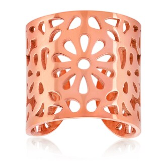 ELYA Rose Gold Floral Stainless Steel Open Ring (4 options available)