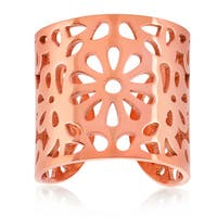 ELYA Rose Gold Floral Stainless Steel Open Ring
