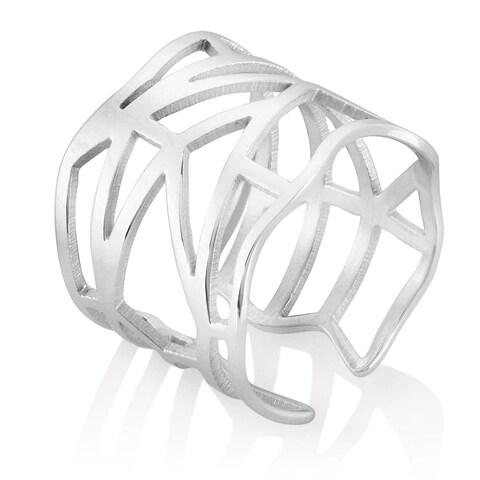 ELYA High Polish Geometric Stainless Steel Open Ring - Silver