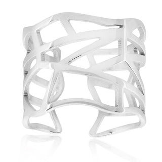 ELYA High Polish Geometric Stainless Steel Open Ring - Silver