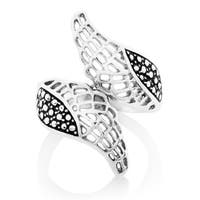 ELYA High Polish Angel Wings Bypass Stainless Steel Ring