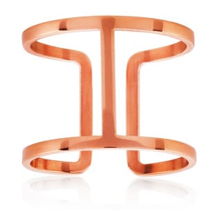 ELYA Rose Gold Geometric Stainless Steel Open Ring