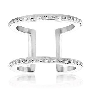 ELYA High Polish Geometric Studded Stainless Steel Open Ring