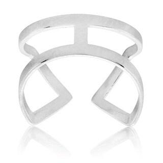 ELYA High Polish Geometric Stainless Steel Open Ring