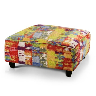 Furniture of America Minerva Modern Abstract Print Premium Fabric Square Ottoman