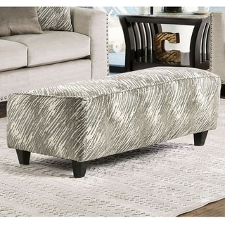 Furniture of America Amelie Contemporary Abstract Grey Rectangular Ottoman