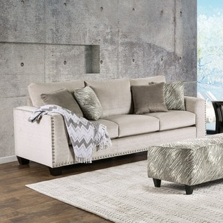 Furniture of America Amelie Contemporary Light Mocha Premium Fabric Sofa