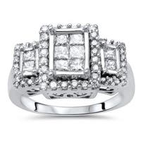 Noori 14k Gold 7/8ct TDW Princess-cut Diamond Ring - White