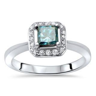 Noori 14k Gold 5/8ct TDW Princess-cut Blue Diamond Engagement Ring