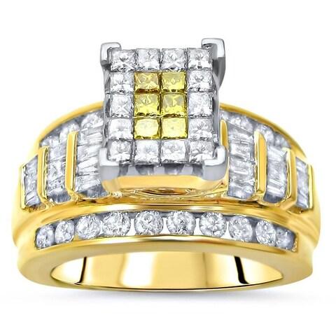 Noori 14k Gold 1 1/2ct TDW Canary Yellow Princess-cut Diamond Engagement Ring - White