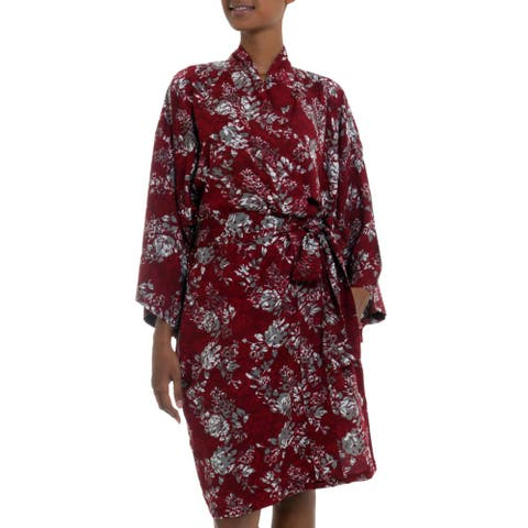 Handmade Rayon 'Gorgeous in Claret' Short Batik Robe (Indonesia)