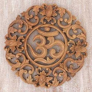 Handmade Flower Om Suar Wood Wall Relief (Indonesia)