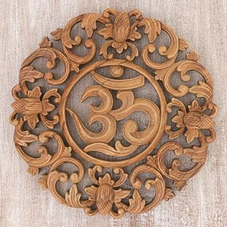 Handcrafted Suar Wood 'Flower Om' Wall Relief (Indonesia)