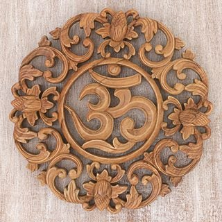 Handmade Suar Wood 'Flower Om' Wall Relief (Indonesia)