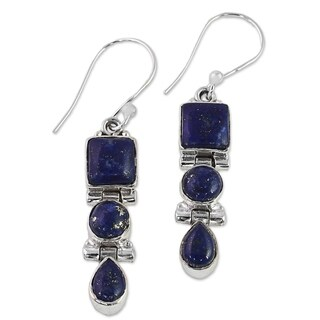 Handmade Sterling Silver 'Royal Blue Glamour' Lapis Lazuli Earrings (India)