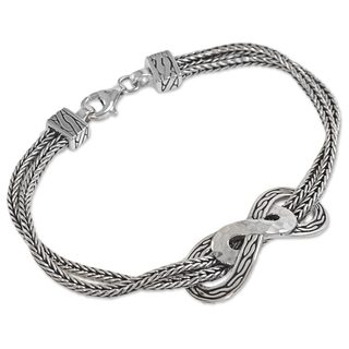 Handcrafted Sterling Silver 'Infinity Mosaic' Bracelet (Indonesia)