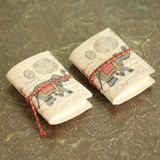 Set of 2 Handmade Paper 'Royal Stride' Mini-journals 48 Blank Pages (India)