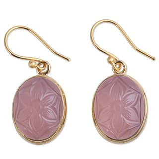 Handcrafted Gold Overlay 'Rosy Allure' Onyx Earrings (India)